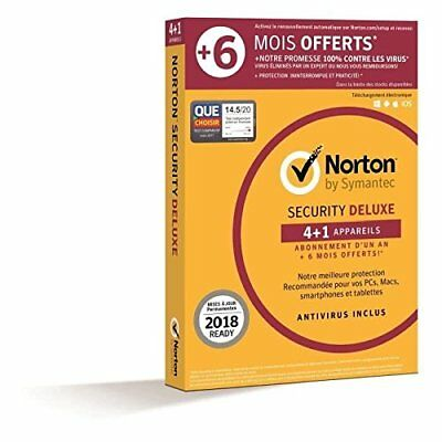 Symantec - Norton Security Deluxe 2018   1 An + 6 mois offerts   4+1 Appa - NEUF