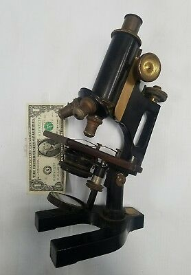 Antique VERSATILE Bausch & Lomb Jug Handle Microscope w/3 Eyepieces & Case c1907