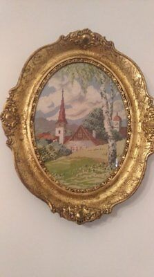 2 X Authentic Wiehler Gobelin Needlepoint Vintage Pictures (Spring and Winter)