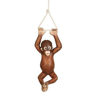 "Pongo The Hanging Baby Orangutan Design Toscano Exclusive Statue With 22"" Rope"