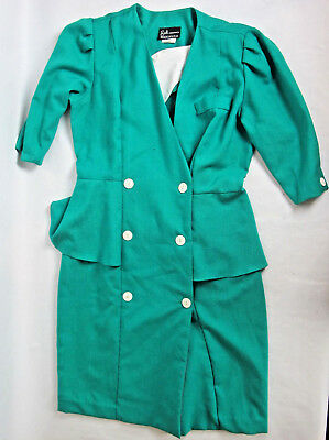 60s/70s Vintage Breli Originals Work Dress Secretary Womens Bright Green Sz 10
