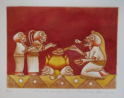 Day of the Dead Etching Hand tinted Natural pigments Reyes Gomez Oaxaca Mexico