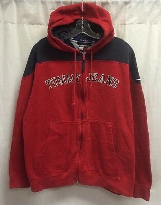 81bd5aed Vintage Tommy Hilfiger Jeans Spellout Full Zip Hoodie Sweater Size L Red  Blue