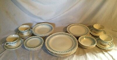 Vintage Antique Edwin Knowles Blue Laurel Dinnerware Set Service For 4 1948
