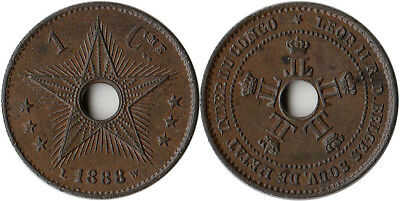 1888 Congo 1 Centime Coin KM#1 Low Mintage