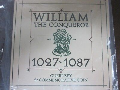 Guernsey 1987 William the Conqueror 2 Pound Commemorative Coin in Mint Package