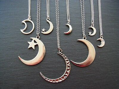 Crescent Moon Antique Silver Charm Necklace Bohemian Boho Necklace Moon Pendant