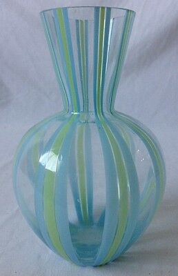 Blue and Green Striped Art Glass Vase Hand Blown Unsigned