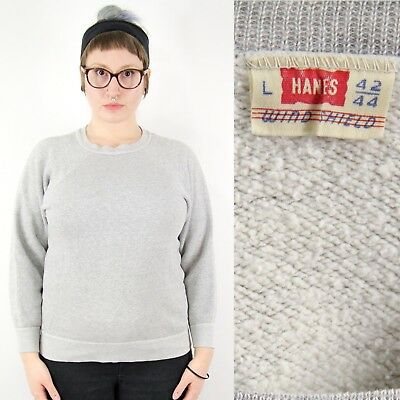 VTG 1950s 50s Hanes Windshield Mens Large Crew Neck Sweatshirt Gray Workwear