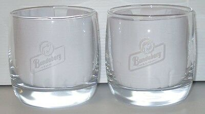 Bundaberg Bundy Rum pair of short spirit drink glasses for home bar collector