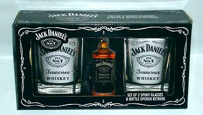 Jack Daniels Old No 7 Brand Glasses & Opener  Keyring new 4 home bar collector