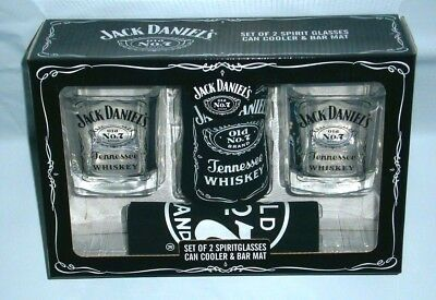 Jack Daniels Old No 7 Brand Glasses, Stubby Holder & Mat 4 home bar collector
