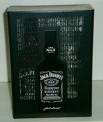 Jack Daniels brand new 700ml bottle in metal display case tin with 2 glasses