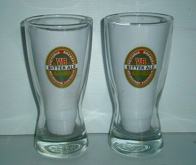VB Victoria Bitter Ale Beer label brand new pair of 2 long 285ml drink glasses