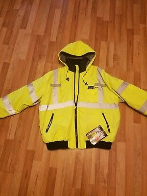 IRadians Jacket Class 3 High Visibility Yellow XX-Large company logo on chest