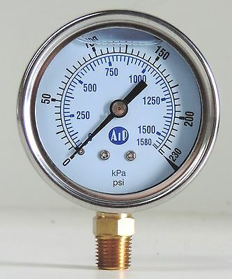 NEW Pressure Gauge Liquid Filled 0 - 230 psi 1500 kpa Air Water Guage Gage AIP