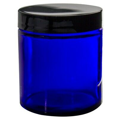 Cobalt Blue Glass Straight Sided Jar - 4 oz + Spatulas and Labels