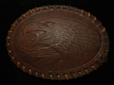 RB03103 VINTAGE 1970s **AMERICAN BALD EAGLE** COMMEMORATIVE LEATHER BELT BUCKLE