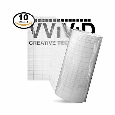 High Gloss Clear Vinyl Transfer Paper Self-Adhesive Roll w// Grid Backing 12 x 5ft 3mil