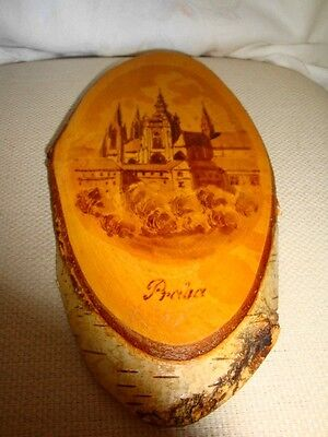 """Vintage Art Picture """"PRAHA"""" Castle on Real Tree Wood, Handcrafted Art Wall Decor"""