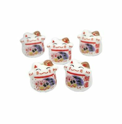 Jzcky Shzrp Ceramic Beads with Lucky Cat Pattern for Making Pendant Etc.(10pc...