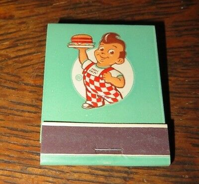 BIG BOY MATCH BOOK EMBOSSED FEATURE 1950's MINT GREEN FRONT STRIKE 10 LOCATIONS