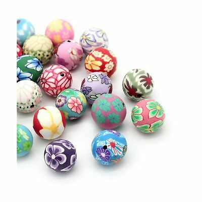 Souarts Mixed Flowers Printed Round Polymer Clay Beads 12mm 13mm Pack of 30pcs