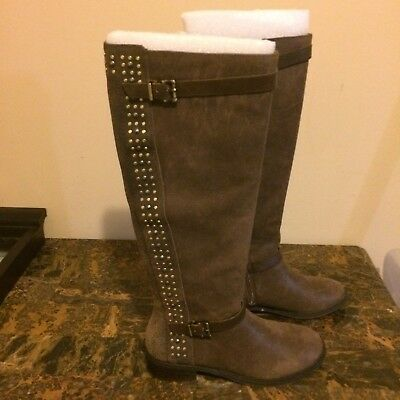 379b20561f7b Women s Jessica Simpson ELLISTER Studded Flat Riding Boots Leather Brown  Size 8