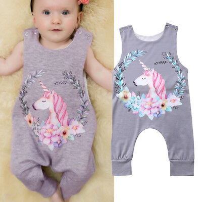 Newborn Toddler Baby Girl Romper Unicorn Jumpsuit Outfits Sunsuit Clothes 0-24M