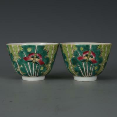 Chinese Old Pair Marked Famille Rose Cabbage & Butterfly Pattern Porcelain Cups