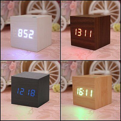 Modern Digital LED Desk Alarm Clock Voice Control Thermometer Timer Calendar