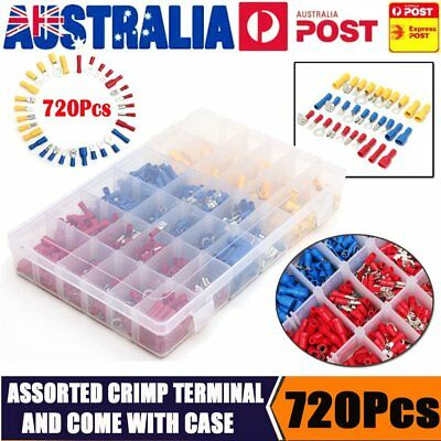 720Pc Electrical Wire Connector Assorted Insulated Crimp Terminals Spade Set Kit