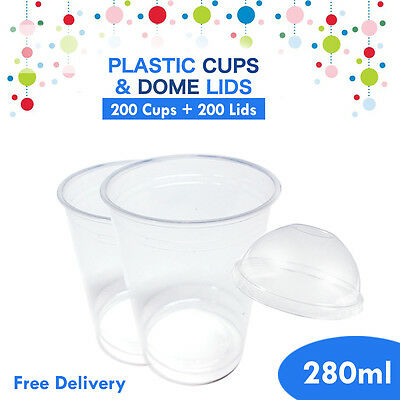 Drinking Plastic Disposable Cups With Dome Lids 200pc + 200 Lid 280ml Water Cup