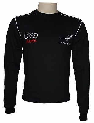 Handmade T-shirt Audi Quattro EMBROIDERED Carded Cotton Embroidery  Long Sleev
