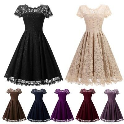 AU Womens Vintage Lace 1950s Rockabilly Dresses Evening Party Prom Swing Dress