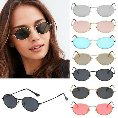 Designer Women Small Oval Sunglasses Eyewear Glasses Gold Metal Frame Shades BW