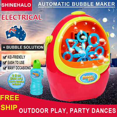 Baby Kids Bubble Blowing Automatic Machine Blower Maker Toys with Bubble Solutio