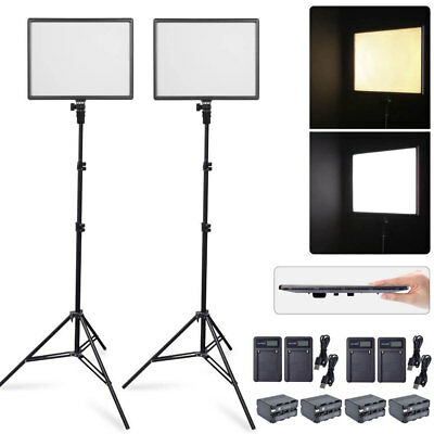 2X CN-Luxpad43 Slim LED Video Light Panel + 2X 2M Stand + 4X Battery & Charger