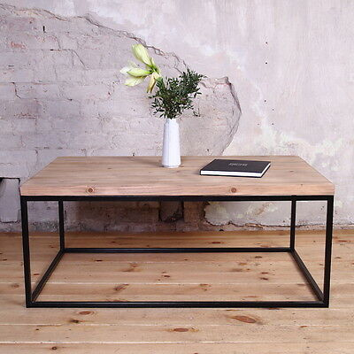 Agase Industrial Wooden Metal Coffee Table Rustic Reclaimed Retro Shabby Chic
