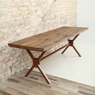 Industrial Style Wooden Oak Dining Table X Shaped Legs Reclaimed Rustic Vintage
