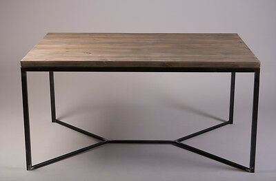 Industrial Style Solid Wooden Metal Dining Table Rustic Reclaimed Retro Vintage