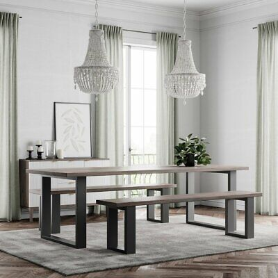 Modern Industrial Style Dining Table Wooden Metal U Shaped Legs Rustic Retro