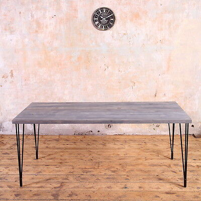Industrial Style Wooden Metal Dining Table Hairpin Legs Rustic Farmhouse Retro