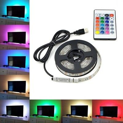 5V 5M 500Cm Usb Led Strip Lights Tv Back Rgb Colour Changing + Remote Control
