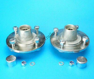 2 x Trailer Hubs 115mm PCD with Bearings & Caps for Erde 100 101 102 121 122 131