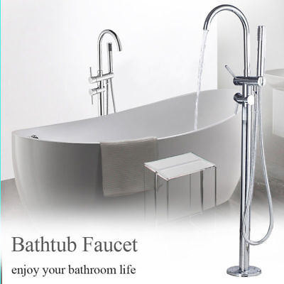 Chrome Finish Floor Mounted Bathtub Faucet Hot Cold Water Tap with Hand Sprayer