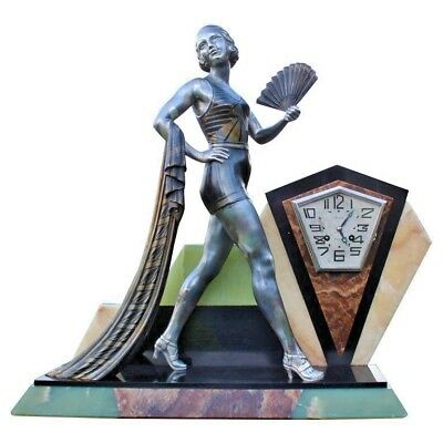 Large French Art Deco Bronzed Spelter and Marble Mantel Clock