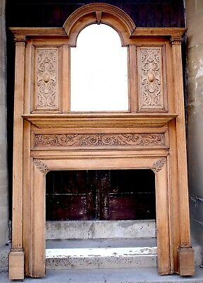 An Antique Carved Oak Fire Surround With Bevelled Mirror Circa 1900