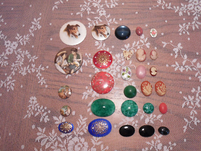 Vintage Jewelry Supplies Cabochons & Cameos Lot of 28 Pieces People Animals Gems