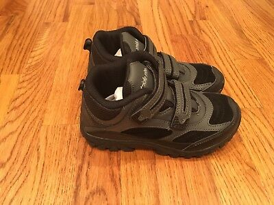 New Boy's Stride Rite Rugged Ritchie Black/Grey Boots, Size 13 1/2 M